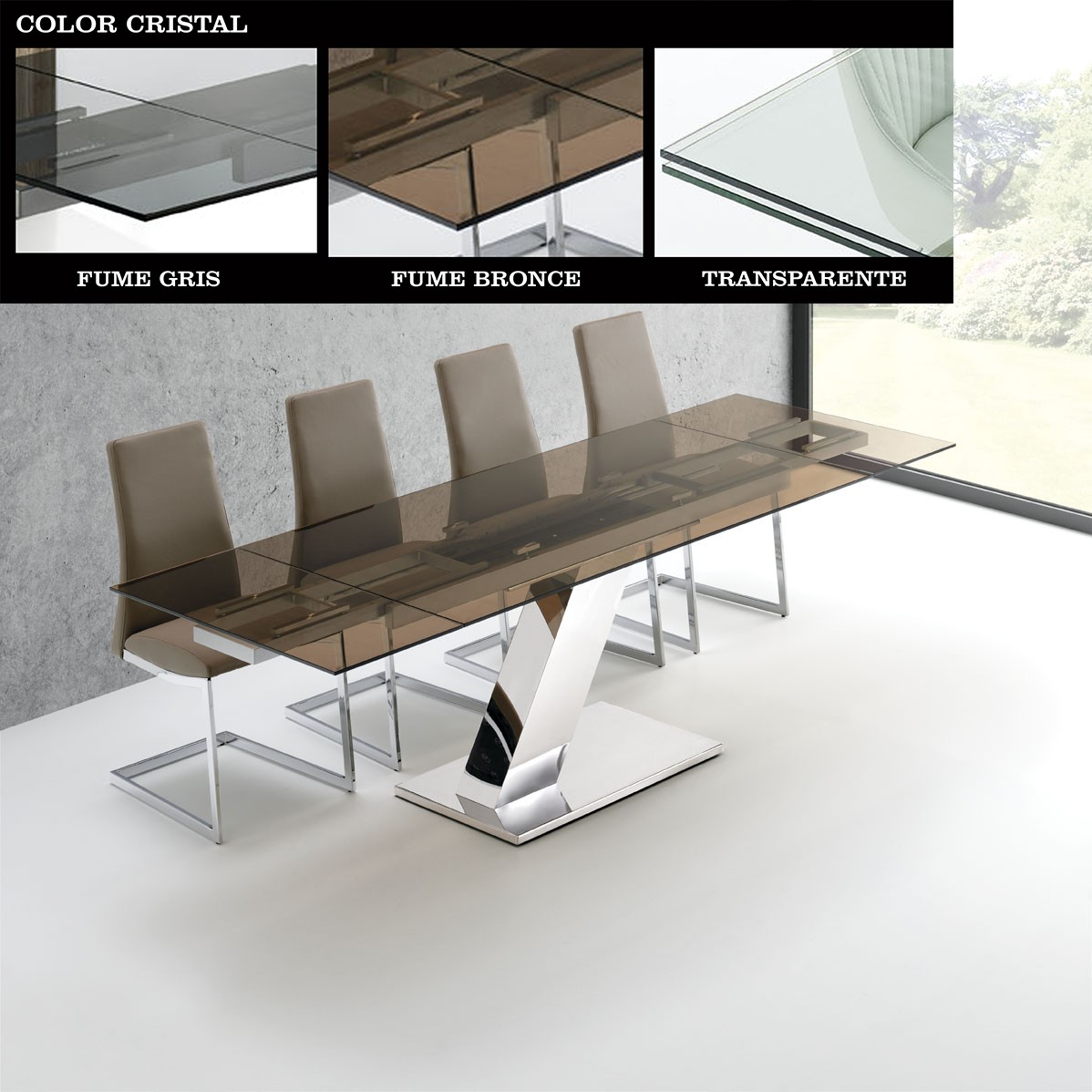 Mesas de Comedor : Mesa de comedor Acero y Cristal extensible ...
