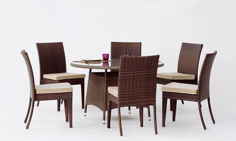 Mesas de Jardin en Rattan : Mesa comedor de exterior Modelo Tatiana 120