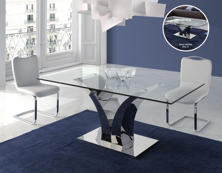Mesa Comedor en Acero y Cristal Templado Modelo Cala