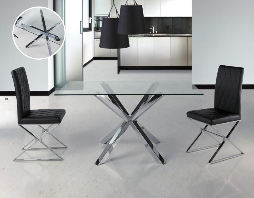 Mesa Comedor en Acero y Cristal Templado Modelo Fine