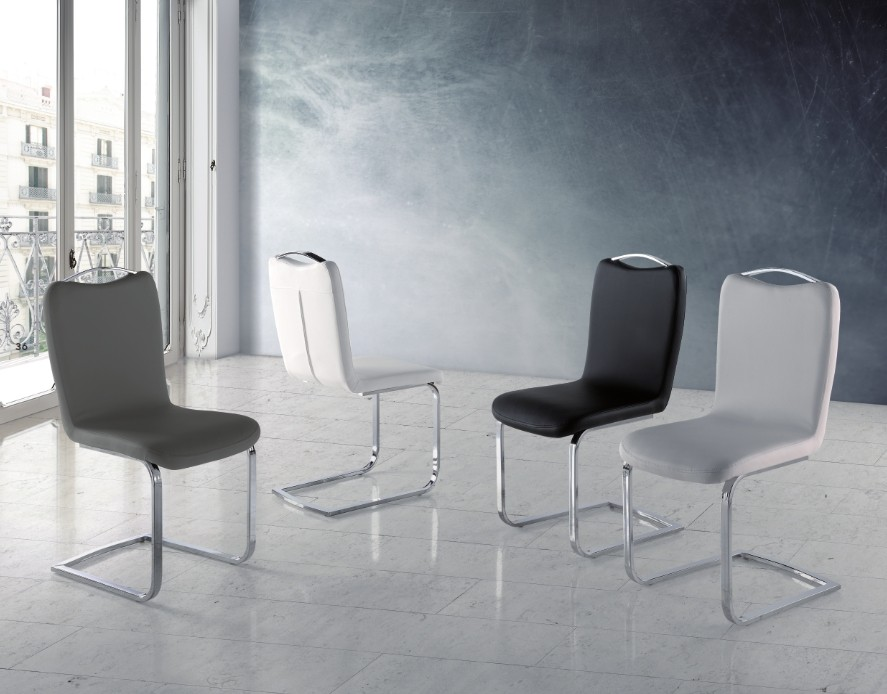 Mesa Comedor en Acero y Cristal Templado Modelo Chanel